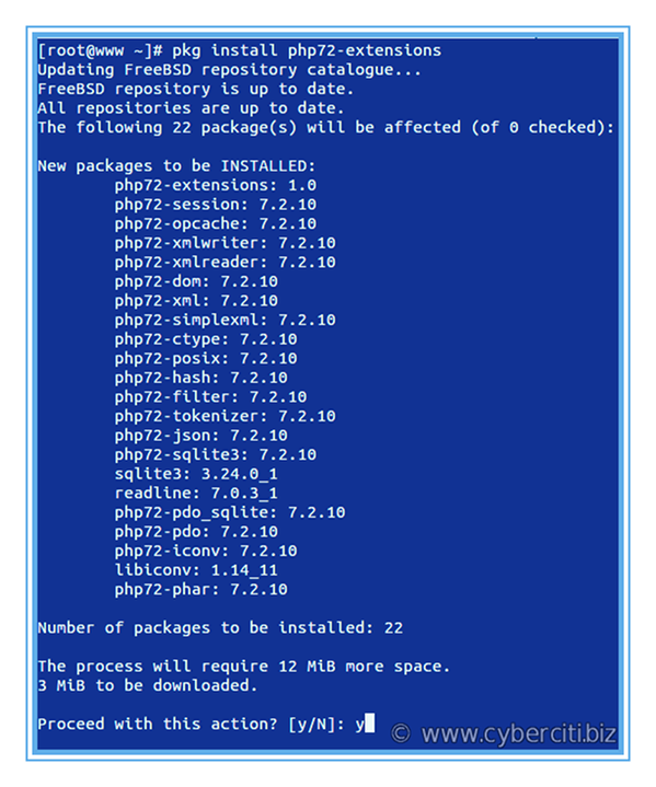 How to install PHP 7.2 with extensions on FreeBSD Unix box