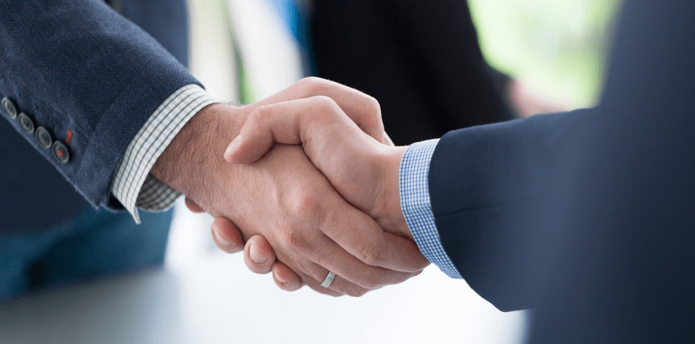 Image of two hands shaking in a business setting