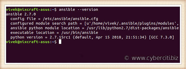 Linux find out ansible version command