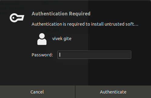 authentication required to install .deb file on Ubuntu
