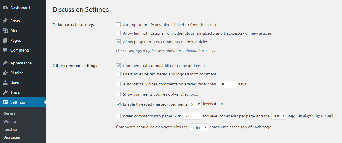 WordPress pingbacks and trackbacks settings.