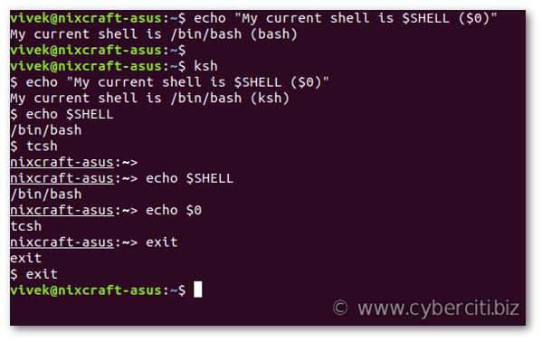 Find out what shell I am using on Linux or Unix