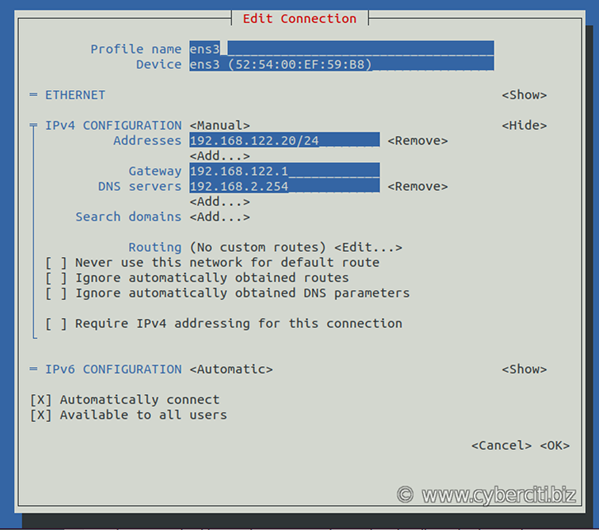 Static IP address on RHEL 8 config using nmtui command