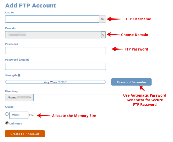 Create FTP Account on Webhost Cpanel