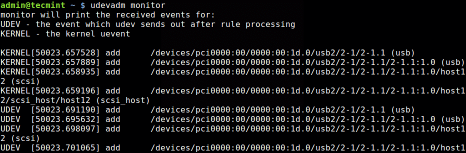 Monitor Device Events in Linux