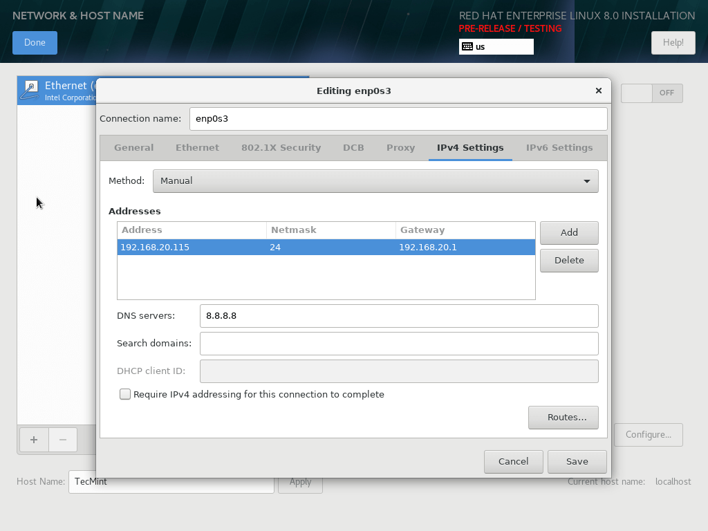 RHEL 8 Network Settings