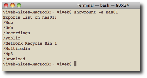 Fig.01: UNIX showmount command lists all clients that have remotely mounted a filesystem from NFS server