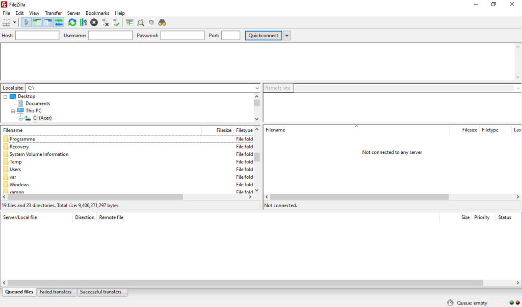 user interface ftp client example
