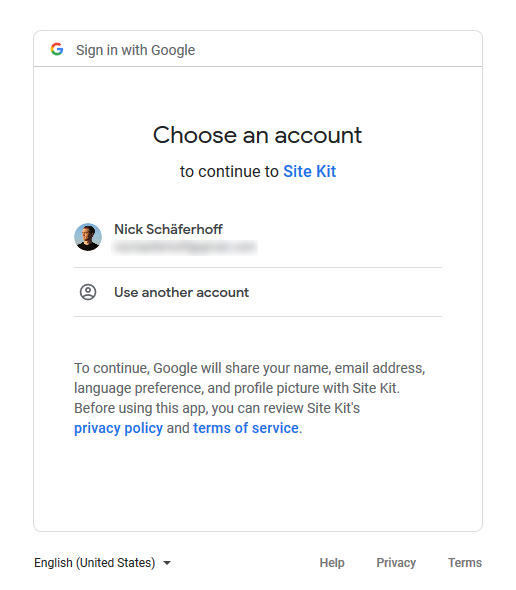sign into google to install site kit