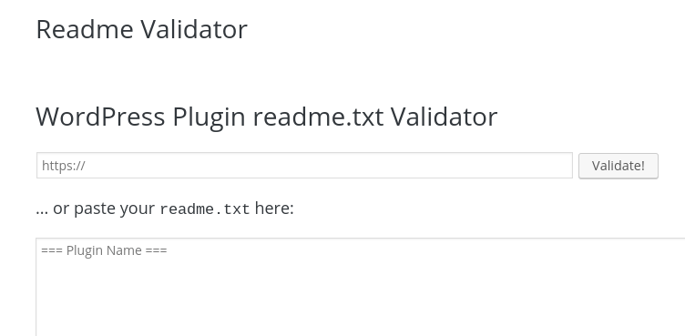 Readme.txt validator plugin on WordPress.