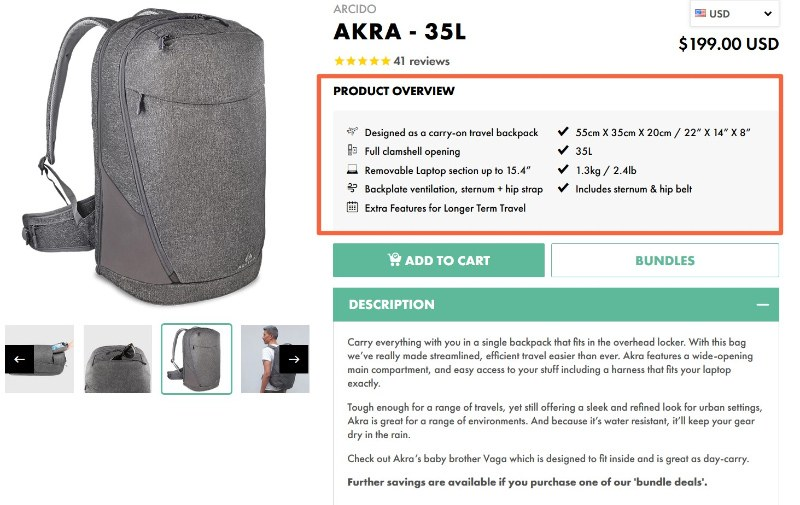 Akra's product descriptions target its buyer persona