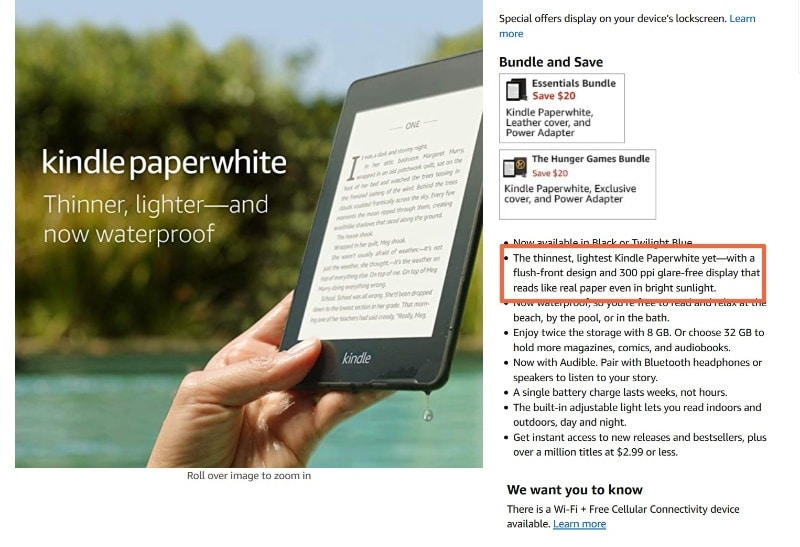 Amazon's product descriptions combine features and benefits