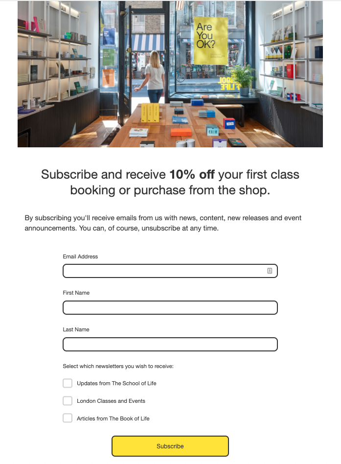 The School of Life signup page