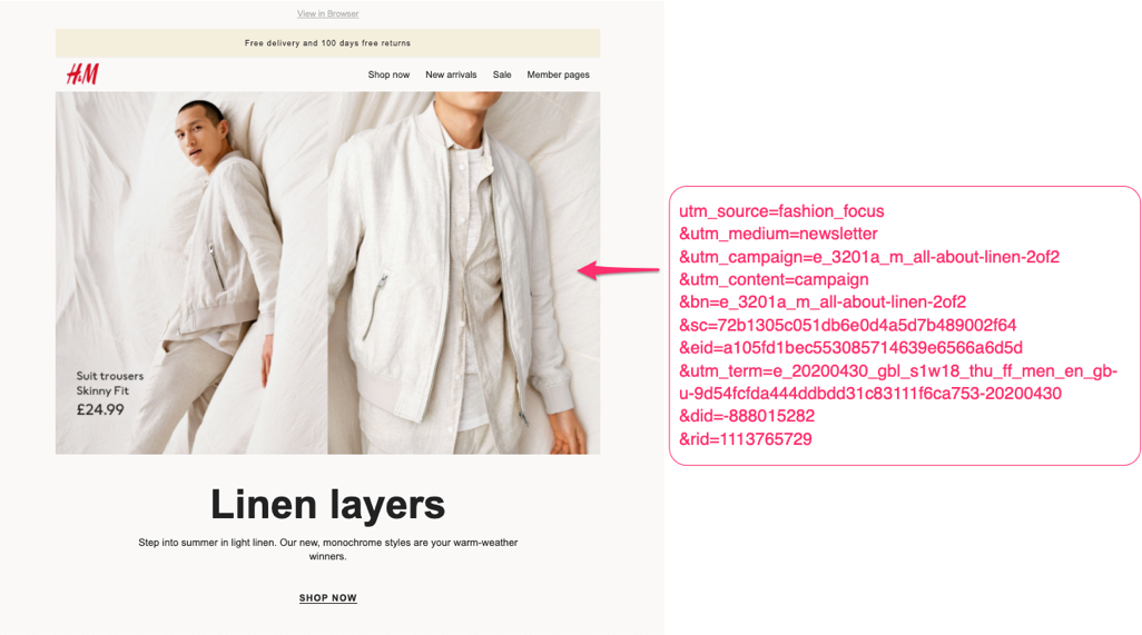 H&M email tracking