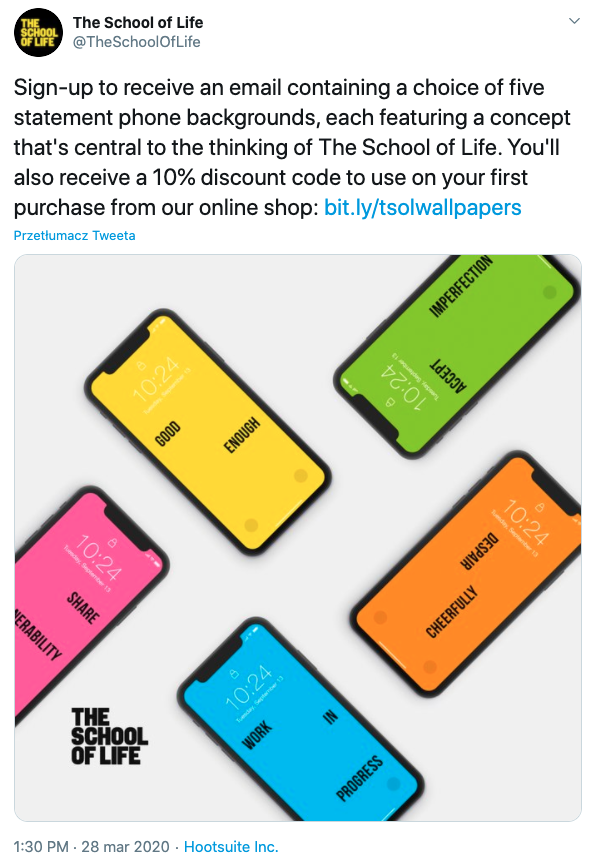 The School of Life Twitter promotion
