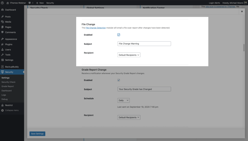 WordPress Security File Change Notification Settings